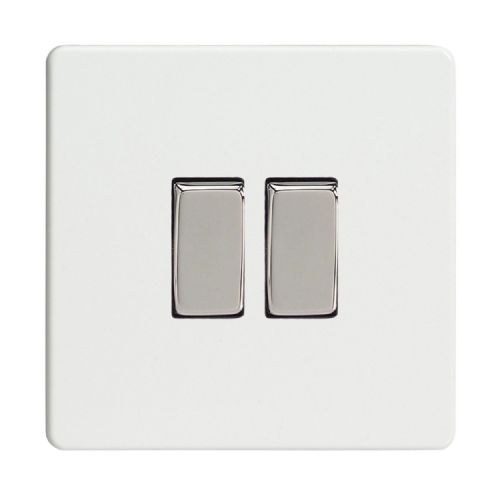 Varilight XDQ71S Screwless Premium White 2 Gang 10A Rocker Light Switch (1 x Intermediate 1 x 2W)